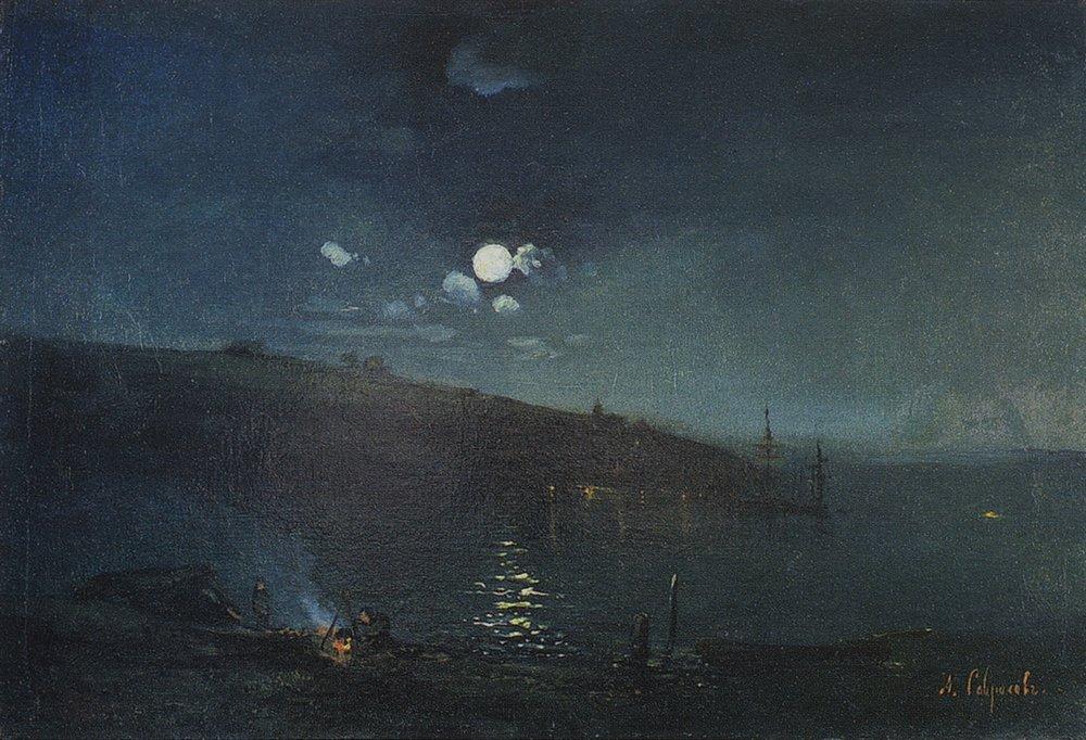 Живопись картины маслом лунная ночь