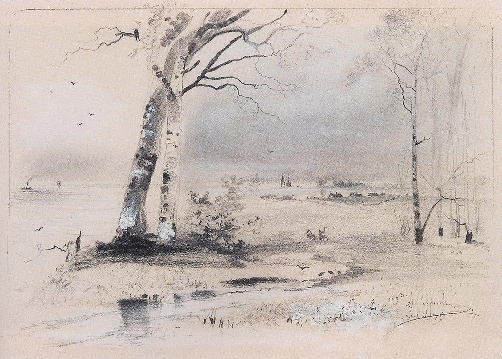 Рисунки карандашом ранняя весна