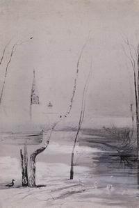 Пейзаж с церковью